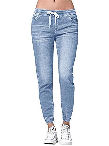 Ybenlover Damen High Waist Jeans Straight Slim Denim Stretch Lang Jeanshosen Mit Gummizug (XL, Blau)