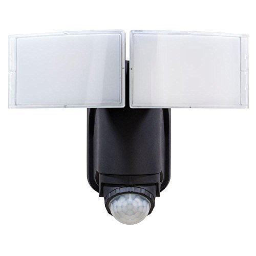 Defiant 180° Black Solar Powered Motion LED Security Light with Battery Backup