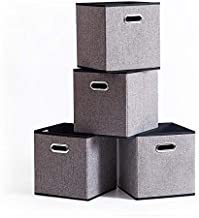 Foldable Storage Cube Box Container Linen Fabric 100% No Smell [4Pack] Collapsible Storage Bin Baskets Organizer Drawer Ca...