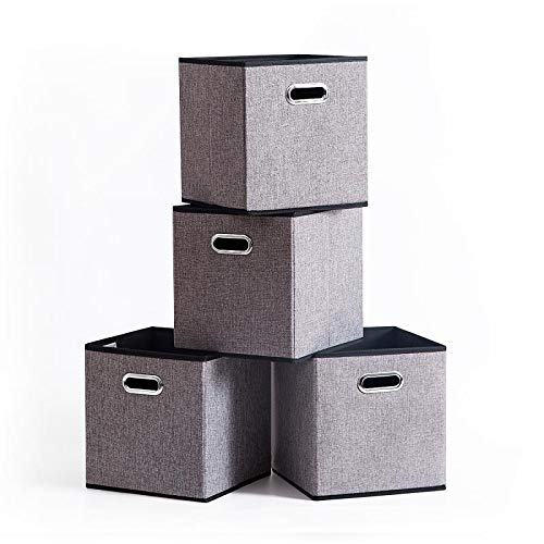 Foldable Storage Cube Box Container Linen Fabric 100% No Smell [4Pack]Collapsible Storage Bin Baskets Organizer Drawer Cabinet Shelf Container with Metal Handles for Livingroom toys gifts Medicine …