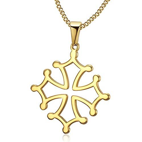 BOBIJOO Jewelry - Pendentif Croix d'Occitanie Languedoc Occitane Toulouse Collier Or Doré Plaqué Acier 316L Chaîne