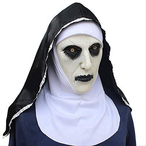 YKZZLDX Mscara de Monja de Terror de Halloween Aterrador montn de Miedo muecas Femeninas Pueden Brillar tocados de ltex