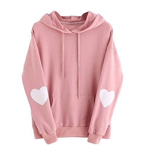 Xinantime Womens Casual Hoodies Long Sleeve Heart Print Hoodie Sweatshirt Jumper Hooded Pullover Tops Blouse Pink