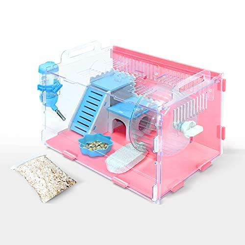 Jaulas de hámster, jaula de gerbil con accesorios de hámster, incluye rueda de hámster, ropa de cama de hámster, juguetes masticables, botella de agua, plato de comida y escondite de hámster