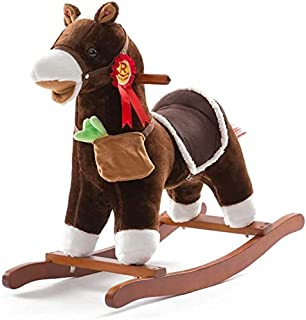 ZWJ Rocking Horse Rocking Horse Children's Wooden Horse Baby Kindergarten Music Shake Horse Toy Birthday Gift Load 50KG 1-...
