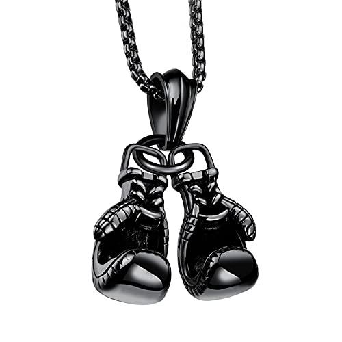 Halskette Schmuck Ketten Frauen Herren Halskette Halskette Titan Stahllegierung Mini Boxhandschuh Halskette Gold Farbe Paar Anhänger Kette Für Männer Jungen Charme Mode Sport Fitne