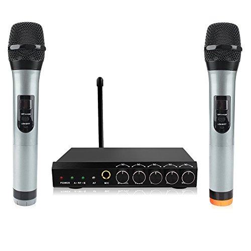 Micrófono Inalambrico Karaoke Profesional,Micrófono Bluetooth 4.1 con Dual Canales,Dos Micrófono de Mano VHF Receptor,Equipo Karaoke Sistema para Bar,Conferencia,KTV