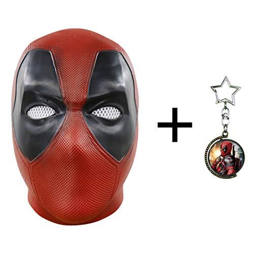 FUGUI Deadpool Maske Film Cosplay Kostüm für Fans Halloween Maske Latex Kopfhelm für Erwachsene Herren Kostüm