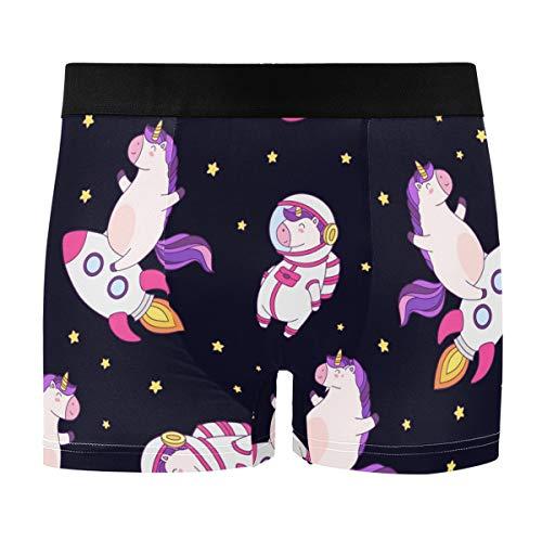 FORMRS Cute Unicorn On Rocket Men Boxer Briefs Men's Underwear Comfort Soft Boxer Briefs