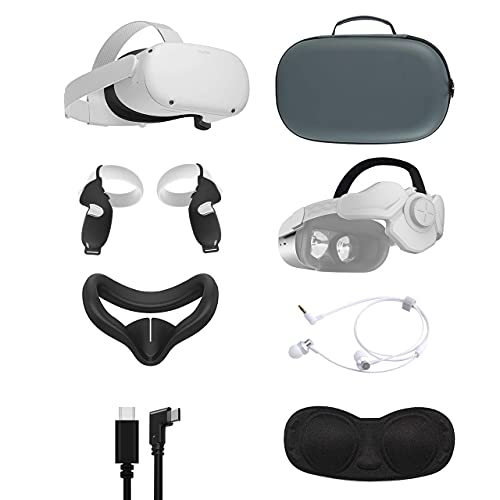 2021 Oculus Quest 2 All-In-One VR Headset 128GB, Touch Controllers, 3D Audio, Mytrix Head Strap, Carrying Case, Earphone, Link Cable (3M), Grip Cover, Lens Cover, Silicone Face Cover
