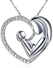 """Collares Mujer, Regalos Para tu Madre, Joyas Mujer Fabricada en Plata de ley 925. Colgantes Mujer Plata Forma de Corazón Diseñado por """"Mamá Sosteniendo a su Bebé"""""""