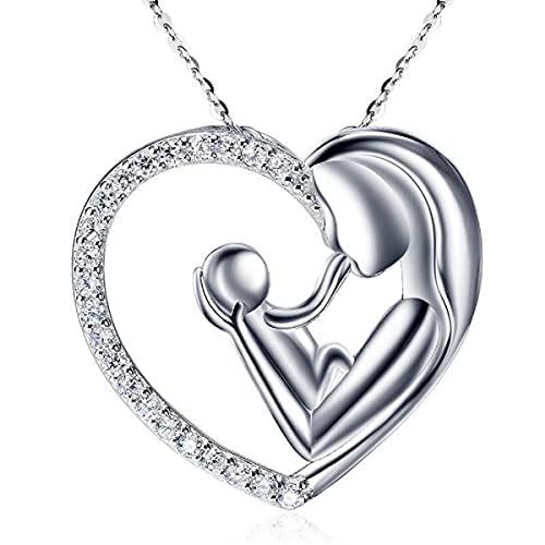 Collares Mujer, Regalos Para tu Madre, Joyas Mujer Fabricada en Plata de ley 925. Colgantes Mujer Plata Forma de Corazón Diseñado por