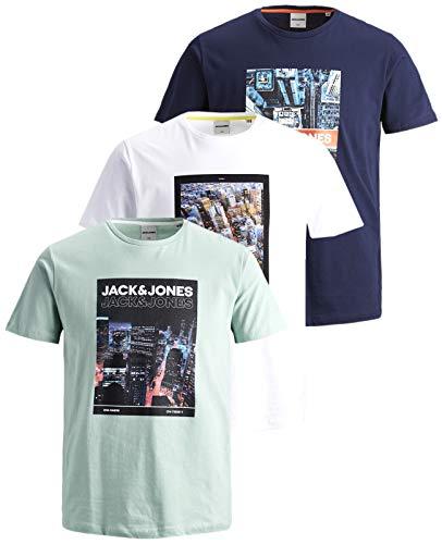 JACK & JONES Herren T Shirt 3er Pack Print Mix Rundhals Tee Regular Slim Fit O Neck Ausschnitt (Regular Fit Mix 2, M)