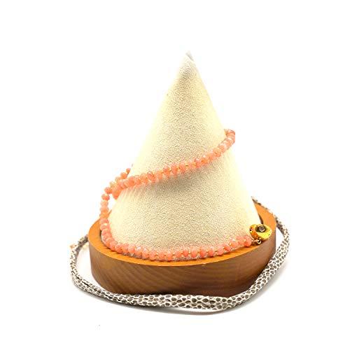 CatstoneNYC - Pulsera con Cuentas de Cristal de ágata Naranja, Doble propósito de Pulsera y Collar, para Salud y Bienestar