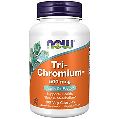 NOW Supplements, Tri-Chromium 500 mcg with Cinnamon, Insulin Co-Factor*, 180 Veg Capsules
