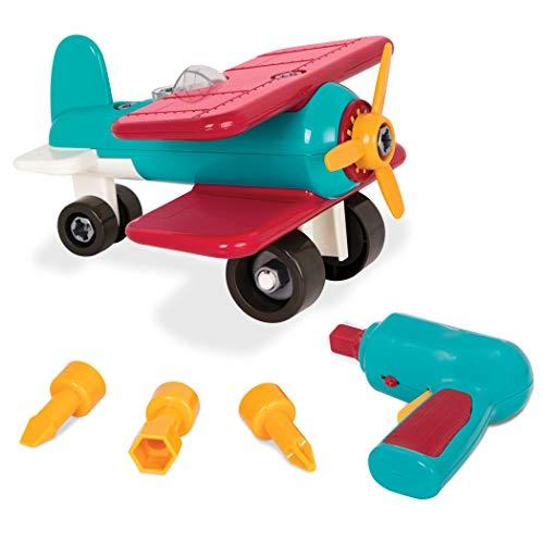 Battat BT2517Z – Konstruktionsspielzeug ab 3 Jahren Montage Flugzeug zum Selbstbauen mit funktionsfähigem Akkuschrauber Pädagogisches Spielzeug für Kinder (25 Teile)