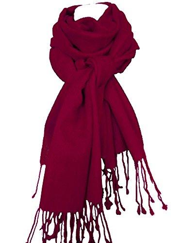 Nella-Mode Nella-Mode XXL Wollschal (205x70 cm inkl Fransen); Feiner & weicher unifarbener Schal Tuch Stola aus 100% Wolle Damenschal in vielen Farben zur Auswahl (Bordeaux)