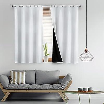 Bedsure 100% Blackout Curtains 63 Length - Whit...