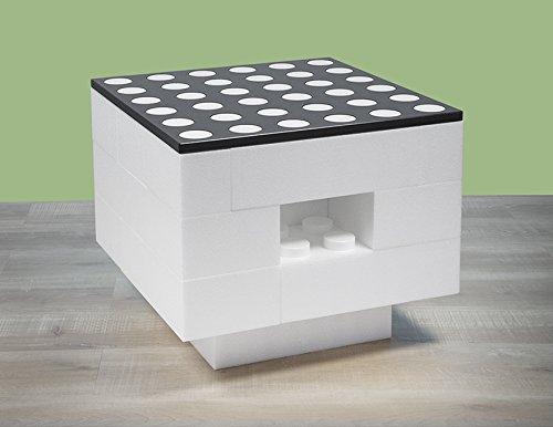 BAM - Table basse blanche modulable avec rangements 57x57x48cm
