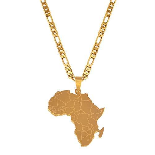 ZVBEP Collar Mapa de Color Dorado de África Collares Pendientes Estilo Hip-Hop para Mujeres Hombres Joyería Mapas africanos Joyería Regalos
