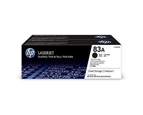 HP 83A CF283AD, Negro, Cartucho Tóner Original, Pack de 2, para impresoras HP LaserJet Pro MFP serie M125, M127, M201 y M225