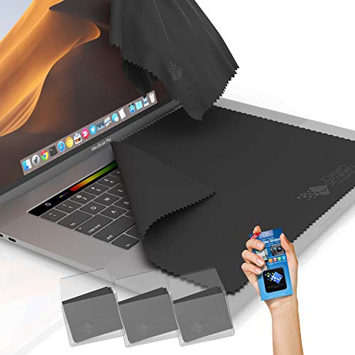 Clean Screen Wizard Microfiber Screen Keyboard Cleaner Keyboard Screen Protector, 4 Pack 3 XL Cloths Keyboard Covers and Microfiber Sticker for MacBook Pro 15, 16 inch, Laptops 15,15.6 ScreenGrey