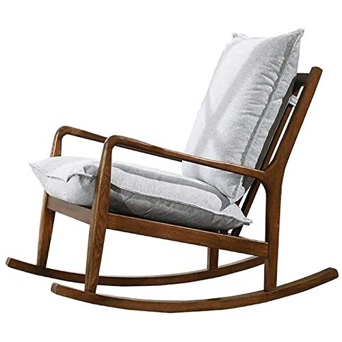 Gungstol - stoppad gungstol, modern fåtölj med hög rygg, bekväm vippad tyg vadderad sits träbas