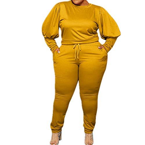N\P Plus Size sexy scollo a V, 2 pezzi, leggings da donna, a maniche lunghe, pantaloni giallo. XX-Large