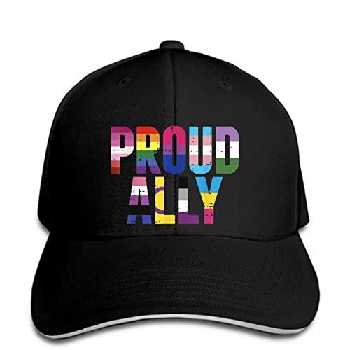 FOMBV Berretto da Baseball Proud Ally LGBT Lesbica Gay Bisessuale Trans Pride Month Black Snapback Hat alzato Regolabile Stampato Cappello Visiera Regalo