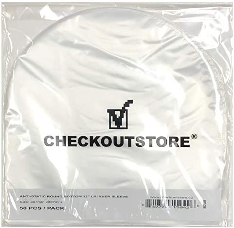 CheckOutStore 100 Anti Static Round Bottom for 12 Vinyl 33 RPM Records Semi Transparent product image