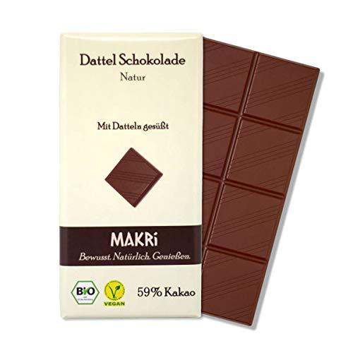 MAKRi Dattel Schokolade – Natur 59% | Mit Datteln gesüßt | Vegan & Bio | Ohne raffinierten Zucker (1x 85g)