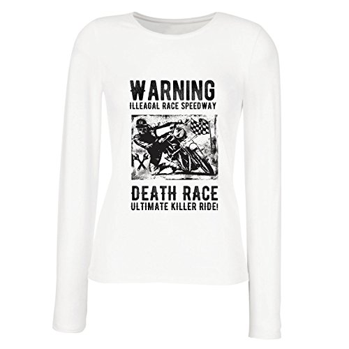 lepni.me Weibliche Langen Ärmeln T-Shirt Todesrennen - ultimative Killerfahrt, Motorradrennen, Klassiker, Vintage, Retro-Schädel-Biker, Motorrad (Small Weiß Mehrfarben)