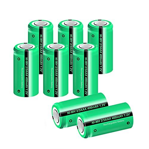 8PCS 1.2V NIMH 2/3AAA 400mAh Rechargeable Battery for Outdoor Garden Solar...