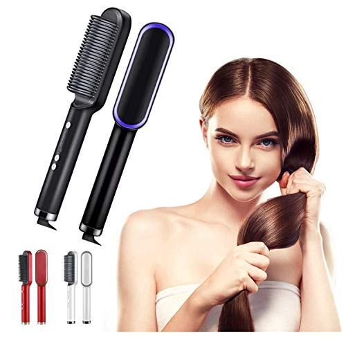 2 in 1 Electric Hair Straightener & Curler,Constant Temperature Anti-Scald Hair Curling Tool Hair Curling Comb,30s Fast Heating,PTC Ceramic Heating Hair Curler-for All Hair Types (EU standard, Black)