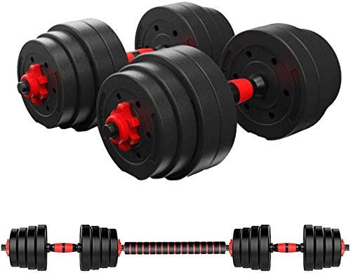 novumtechs Dumbbell Set 40Kg, 88Lb All-in-one Weight Set Adjustable Dumbbell Barbell Pair of Weights for Home Gym Workout with Vinyl Weight Plates and Bar with Quick Change Collars Dumbbells