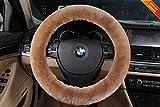 Sisha Funda para volante de coche, 100% piel de oveja australiana, suave, cálida, duradera y de alta elasticidad, para la mayoría de coches, camiones, SUV o furgonetas (bronceado claro)