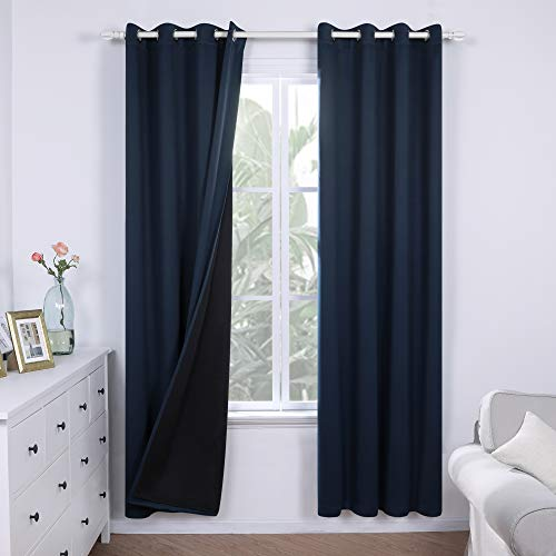Deconovo 100% Blackout Curtains 84 inch Length Thermal Insulated Noise Reducing Window Drapes for Living Room Bedroom Kids Nursery Balcony, 2 Panels, Each 52x84 in , Navy Blue