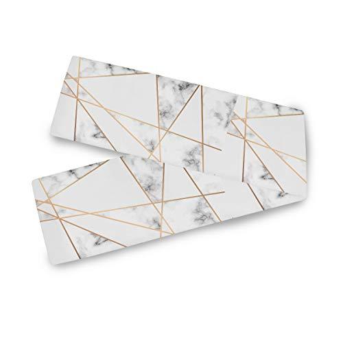 TropicalLife F17 - Camino de mesa rectangular con líneas geométricas doradas, 13 x 70 pulgadas, poliéster, decoración para bodas, cocina, fiestas, banquetes, comedores, mesas de café