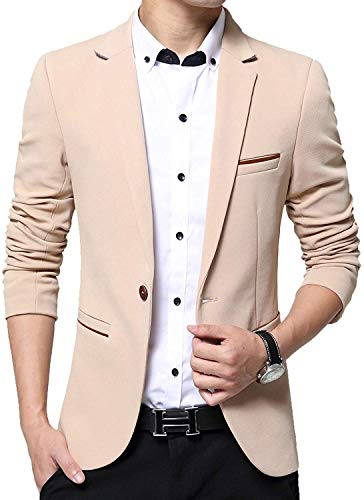Mens Slim Fit Single One Button Blazer Jackets (Khaki,US Small/Label XX-Large)