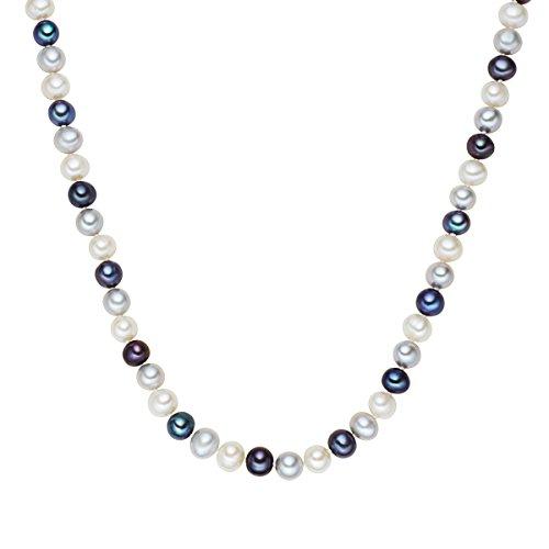Valero Pearls Damen-Collier Kette 925 Silber rhodiniert Perle Süßwasser-Zuchtperle weiß hellgrau pfauenblau in verschiedenen Länge - Perlenkette mit echten Perlen weiss grau dunkelblau 609210181