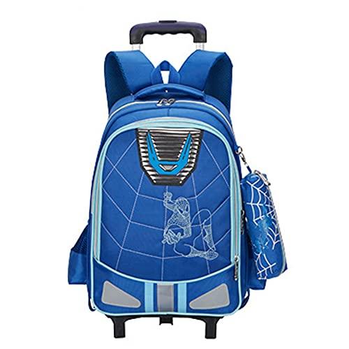 Hflyy Mochilas De Spiderman para Niños Mochilas Los con Ruedas Viajan Informales Bolsas Picnic Al Aire Libre Mochila Impermeable Kit Almuerzo Escolar Estampados Geométricos,Blue-36 * 16 * 45cm
