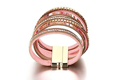 AnazoZ Chapado en Oro Pulsera para Mujer Pulsera Brazalete de Cuer Circonita Oro Rosa Cilíndrico 3.7CM