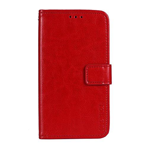 Funda para Oukitel U7 MAX Faux Cuero Billetera con Stand Función Carcasa para Oukitel U7 MAX (Rojo)