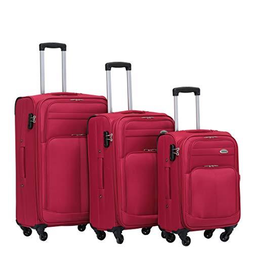 BEIBYE 4 Rollen Reisekoffer 3tlg.Stoffkoffer Handgepäck Kindergepäck Gepäck Koffer Trolley Set-XL-L-M (Weinrot, Set)