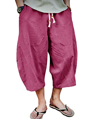 EKLENTSON Herren Capri-Shorts lange Unterknie-Shorts mit elastischem Kordelzug - Rot - 50