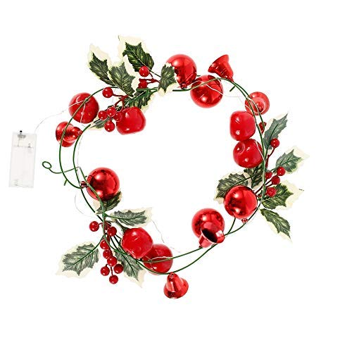 Christmas Tree,Christmas Garland 2.7m 9 Styles Artificial Wreath Xmas Decoration Pre-Lit Garlands Wreath Decor with Pine Cones Illuminated LED Fairy Light Ornament for Stairs Fireplace Door Yard