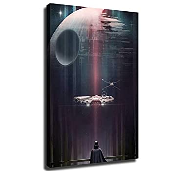 Star Wars posters darth vader Death Star and Starship Wallpaper Print Canvas Art Living Room Wall Decoration Home decor  12X18inch,Frame