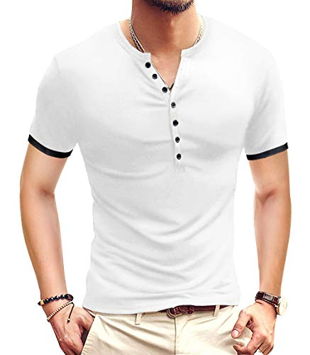 YTD Mens Casual Slim Fit Basic Henley Short Sleeve Fashion Summer T-Shirt L White