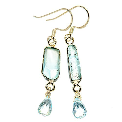 Ana Silver Co Rough Aquamarine, Blue Topaz Earrings 2' (925 Sterling Silver)