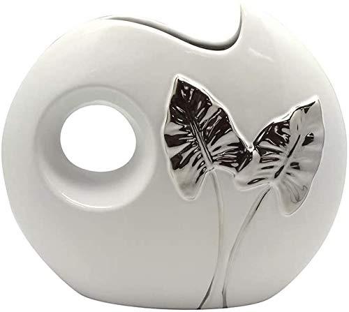 Dreamlight Moderne Dekovase Blumenvase Tischvase Vase aus Keramik weiß/Silber 25x23 cm